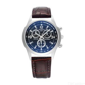 Fashion Business PU Band Analog Quartz Watch Leather Wrist For Men