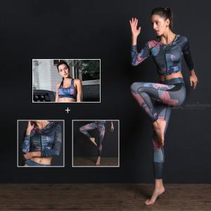 Stylish Print 3-Piece Women Yoga Set Fitness Workout Clothing Suit With Tight Pants