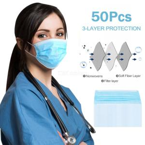 Disposable Face Mask 3-ply Non-Woven Respirator Mask - 50PCS/Box