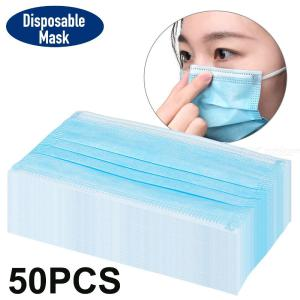 50PCS 3Ply Disposable Face Masks Protective Masks With Elastic Ear Loops