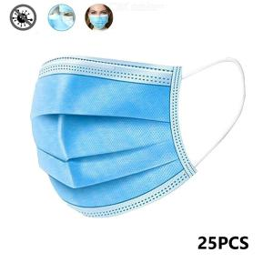 25PCS Disposable Face Masks 3Ply Disposable Protective Masks with Elastic Ear Loops