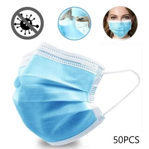 Disposable Face Mask Anti-dust Anti-droplet 3-Ply Non-Woven Fabric Respirator Mask - 50PCS/Set