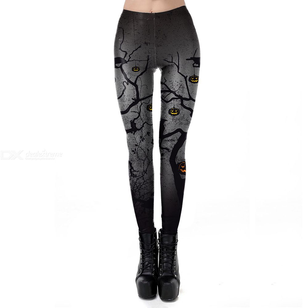 Halloween night youth tour street cool tone pumpkin head print leggings for women