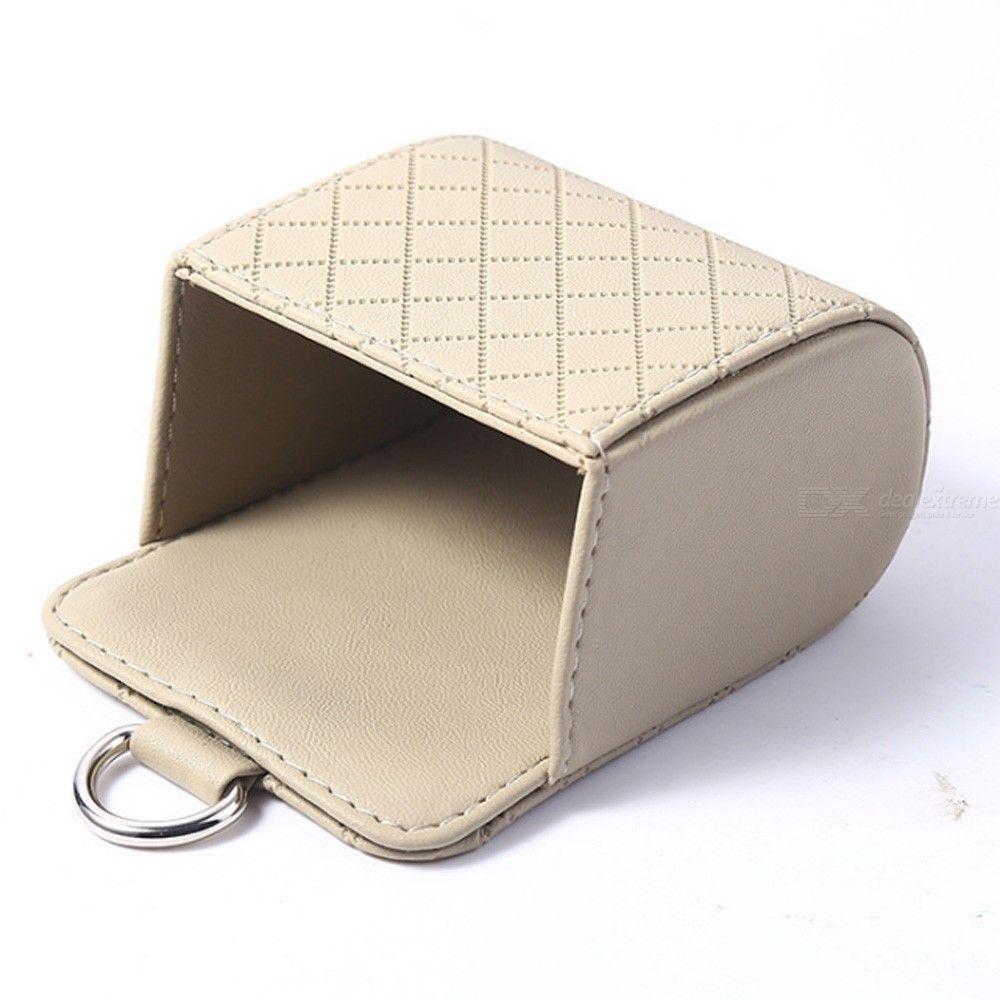 Auto vent outlet trash box pu leather car mobile phone holder storage bag organizer automobile hanging box car styling