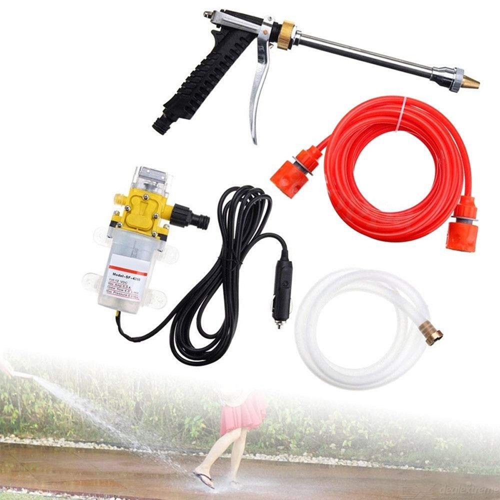 Car washer kit, 12 volt portable high pressure water pump, car wash device fit for auto rv marine,pets showering,window cleaning