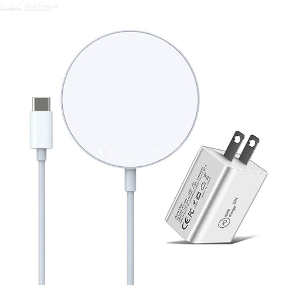 2 in 1 15w magnetic suction wireless charger + pd 20w usb-c / type-c us plug charger for iphone 12 series