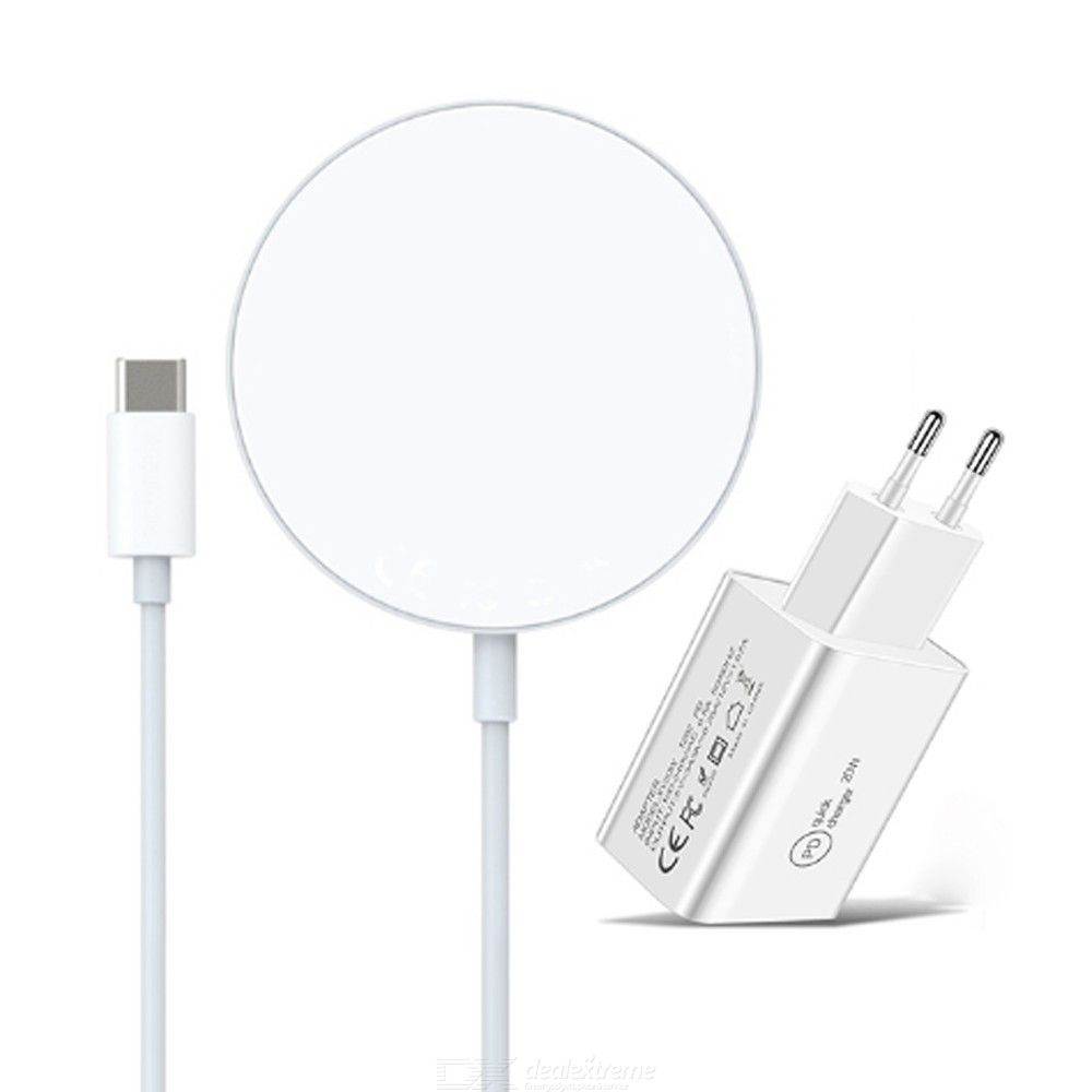 2 in 1 15w magnetic suction wireless charger + pd 20w usb-c / type-c eu plug charger for iphone 12 series