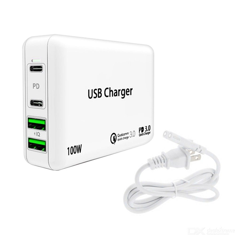 Pd100w pd3.0 usb-c + usb 4-port high power charger for apple huawei samsung notebook