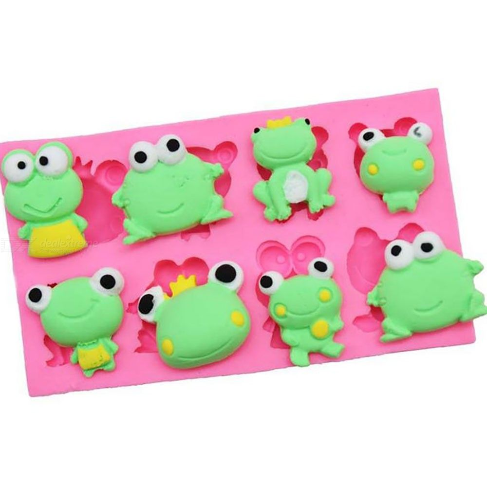 Diy baking tool 8 hole frog cream cake decoration sugar chocolate biscuit silica gel mold