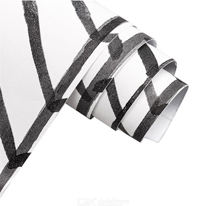 Geometric stickers black white line wallpaper self-adhesive wallpaper thickened pvc wall sticker
