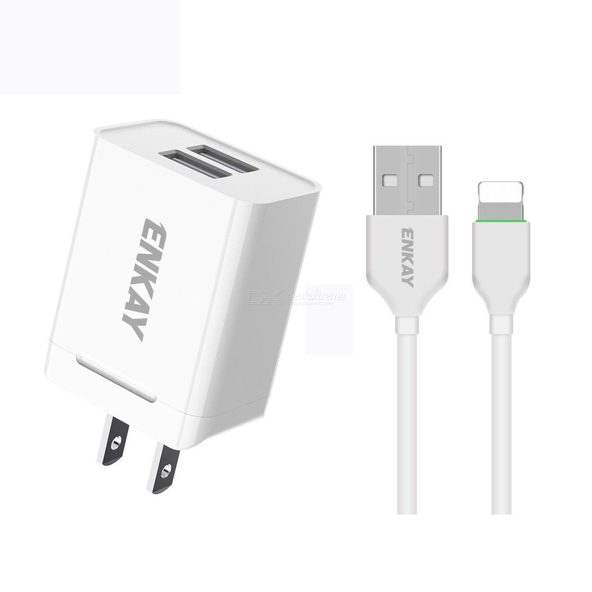 Hat-prince enkay 10.5w 2.1a adaptive charging us plug dual usb travel power adapter with 8 pin cable