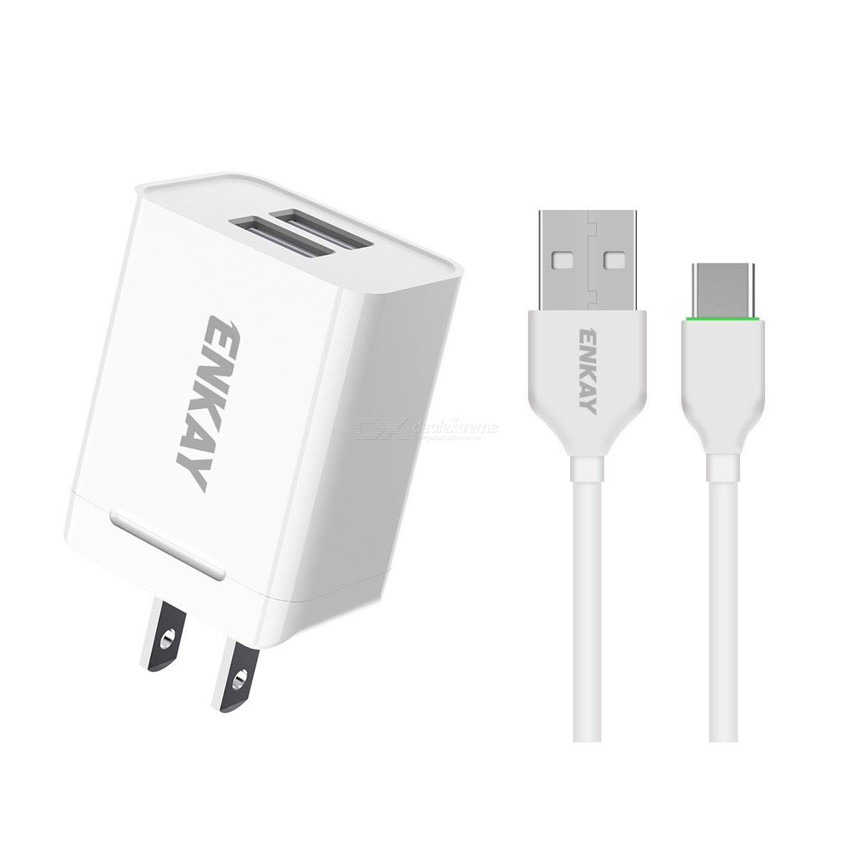 Hat-prince enkay 10.5w 2.1a adaptive charging us plug dual usb travel power adapter with micro usb cable