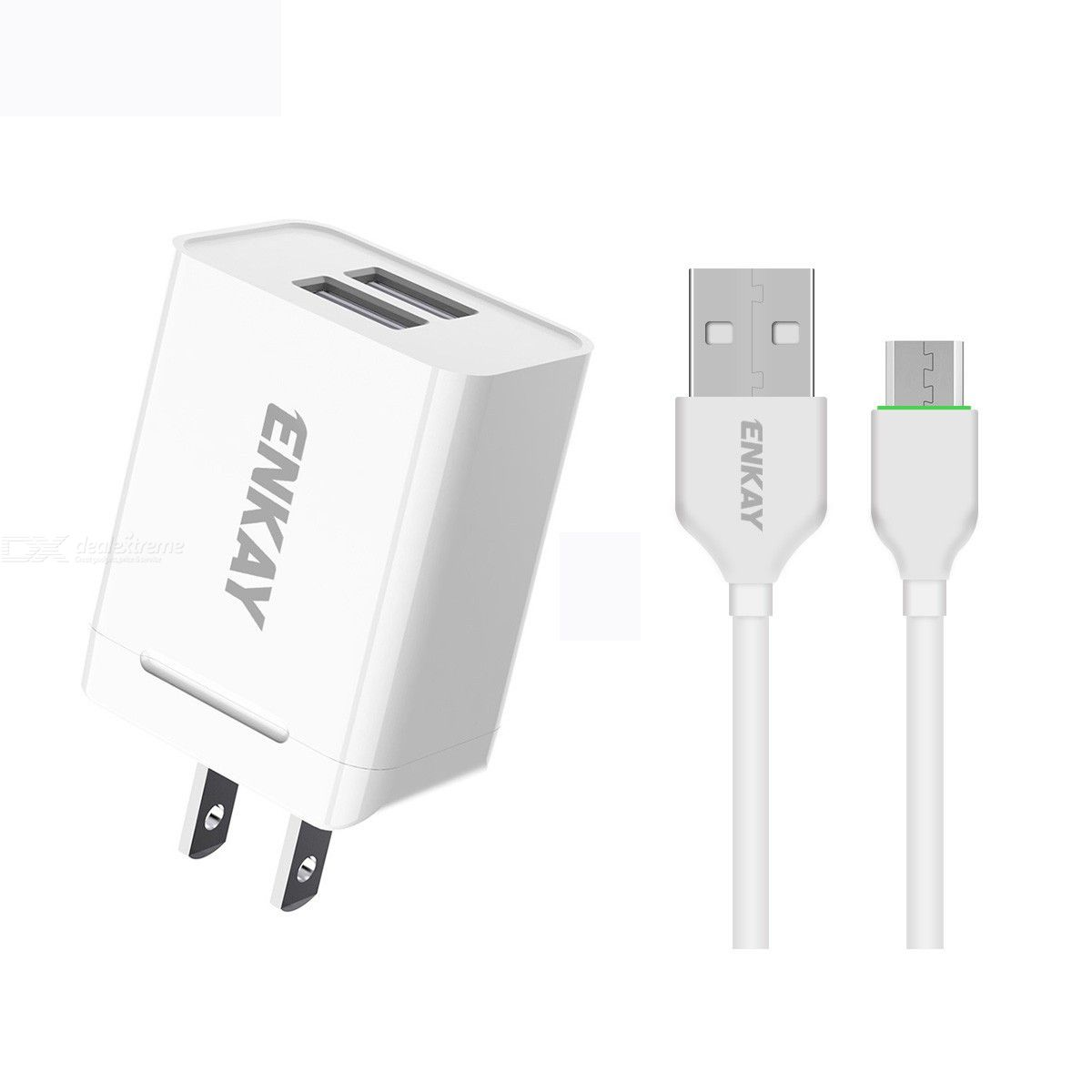 Enkay hat-prince u008-1 10.5w 2.1a dual usb charging us plug travel power adapter with 2.1a 1m type-c cable