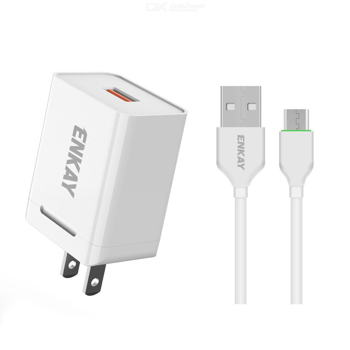 Hat-prince enkay 18w usb power adapter qc3.0 pd super fast charging us plug portable travel charger with type-c cable