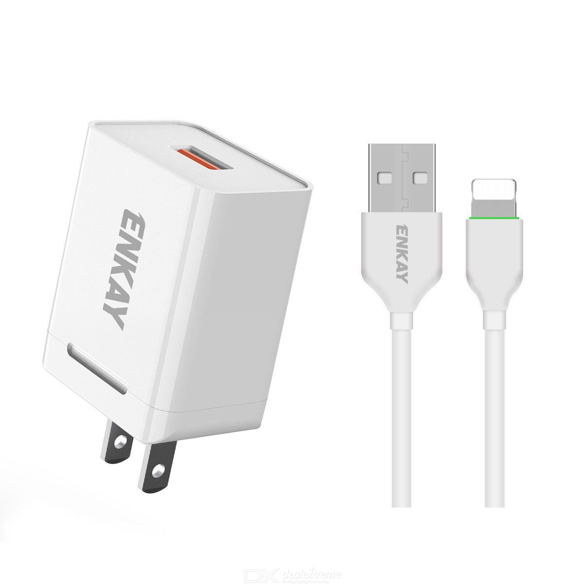 Hat-prince enkay 18w usb power adapter qc3.0 pd super fast charging us plug portable travel charger with 8 pin cable