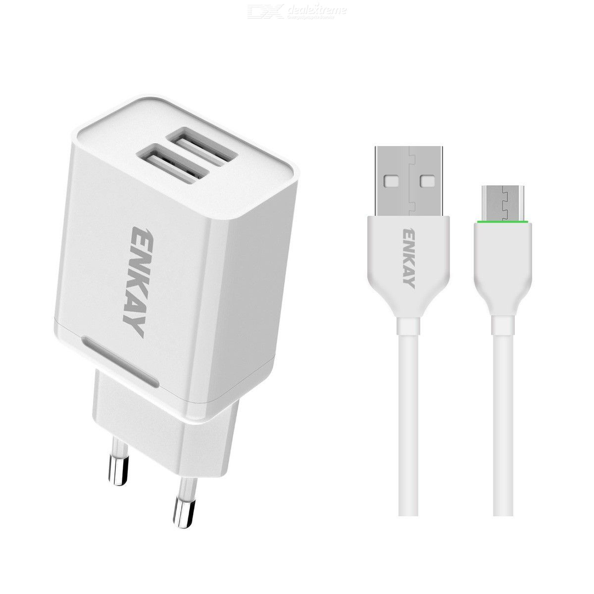 Hat-prince enkay 10.5w 2.1a adaptive charging eu plug dual usb travel power adapter with type-c cable