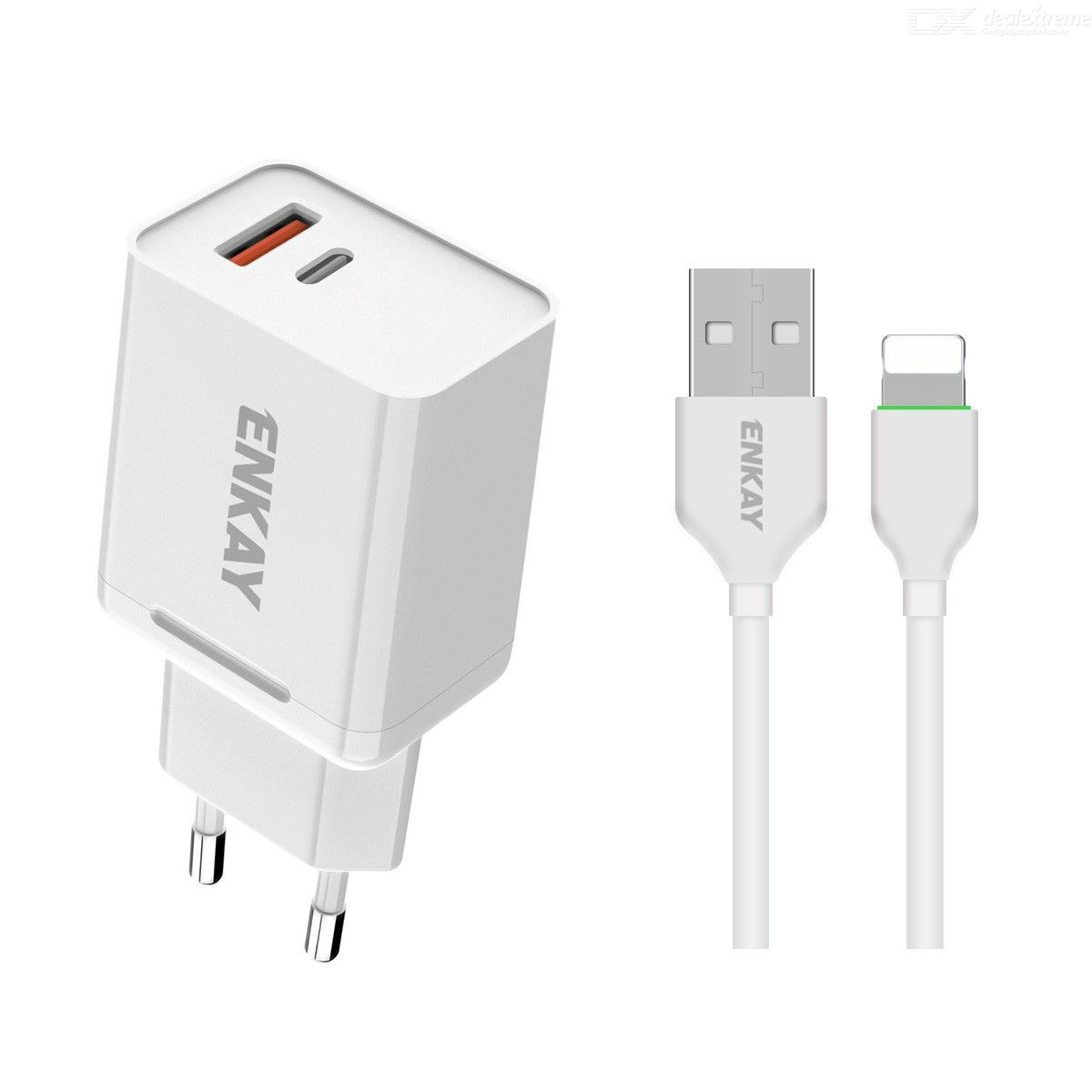 Hat-prince enkay 18w usb + type-c power adapter qc3.0 pd super fast charging eu plug portable travel charger with 8 pin cable