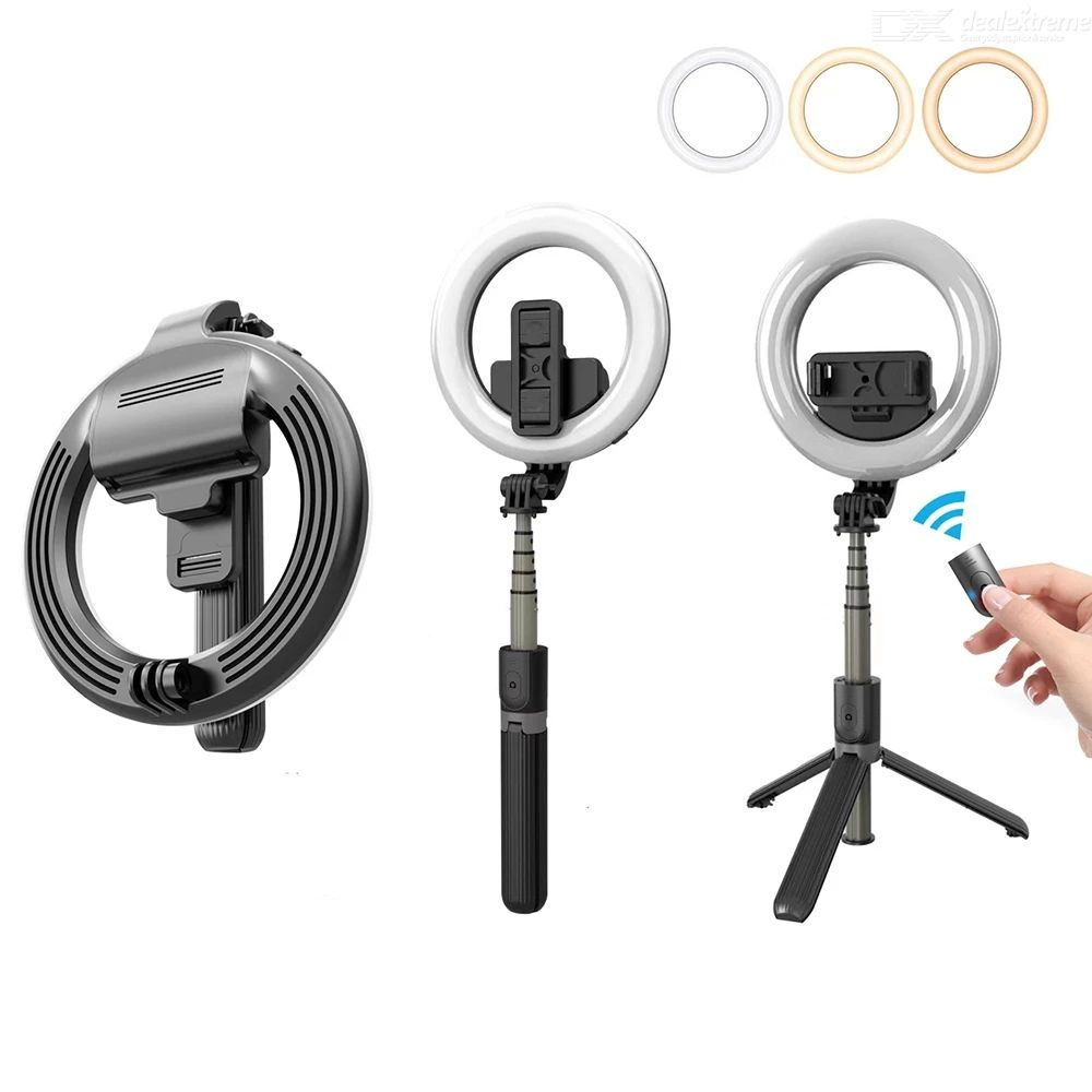L07 portable selfie stick with 5 inches led ring fill light  phone holder for live broadcasting