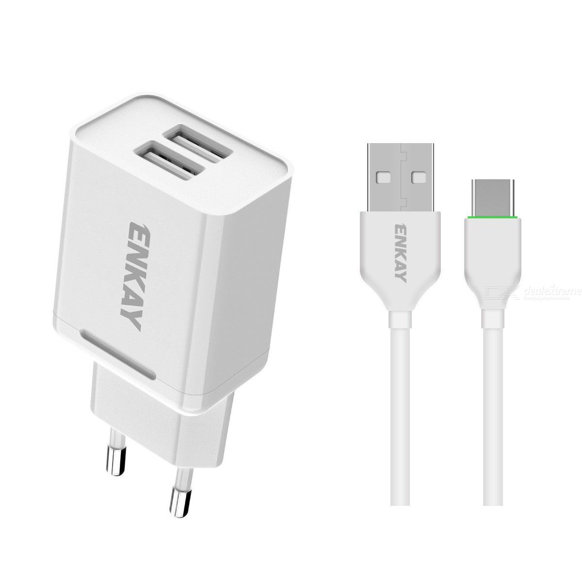 Hat-prince enkay 10.5w 2.1a adaptive charging eu plug dual usb travel power adapter with micro usb cable