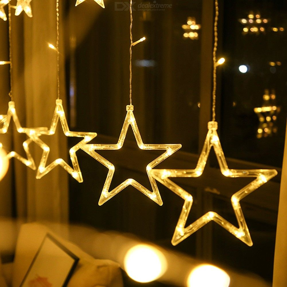 Star curtain lamp led festival decoration lamp five pointed star lamp flat plug