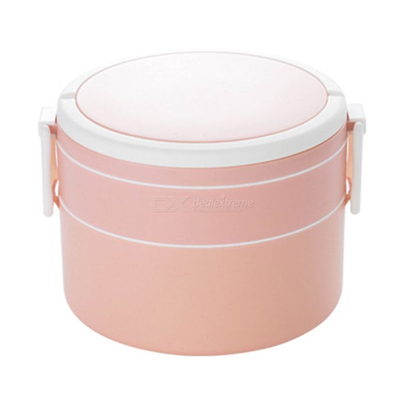 Double  layer portable lunchbox with lid round shape microwaveable bento box for students office workers