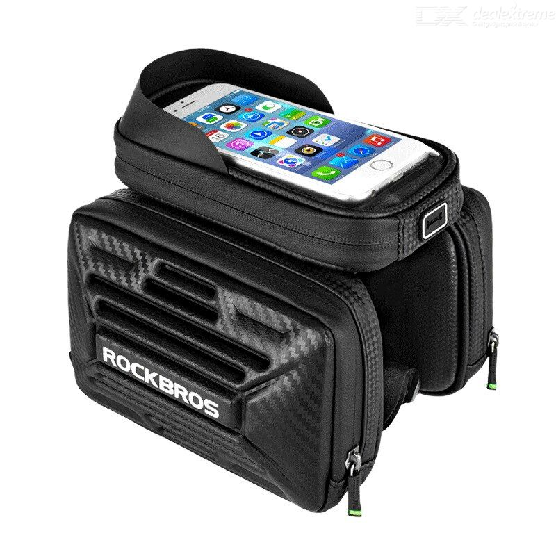 Rockbros b53 cycling top tube frame bag bike phone front frame bag carbon pattern bike bag waterproof bike bag