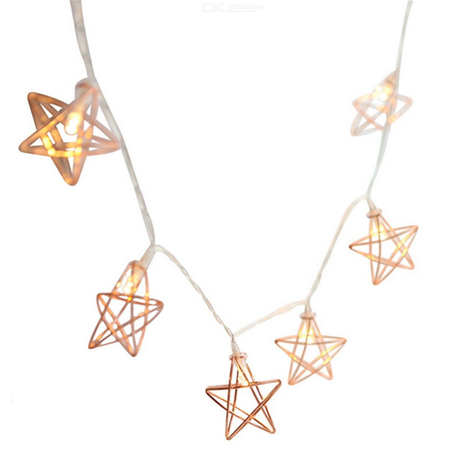 Led lamp string 2m 20 lamp rose gold five pointed star lamp string room decoration lamp