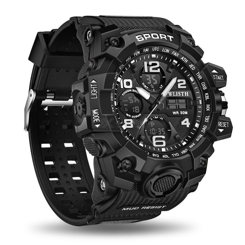 Wlisth s8004 digital watch waterproof luminous display silicone strap for men