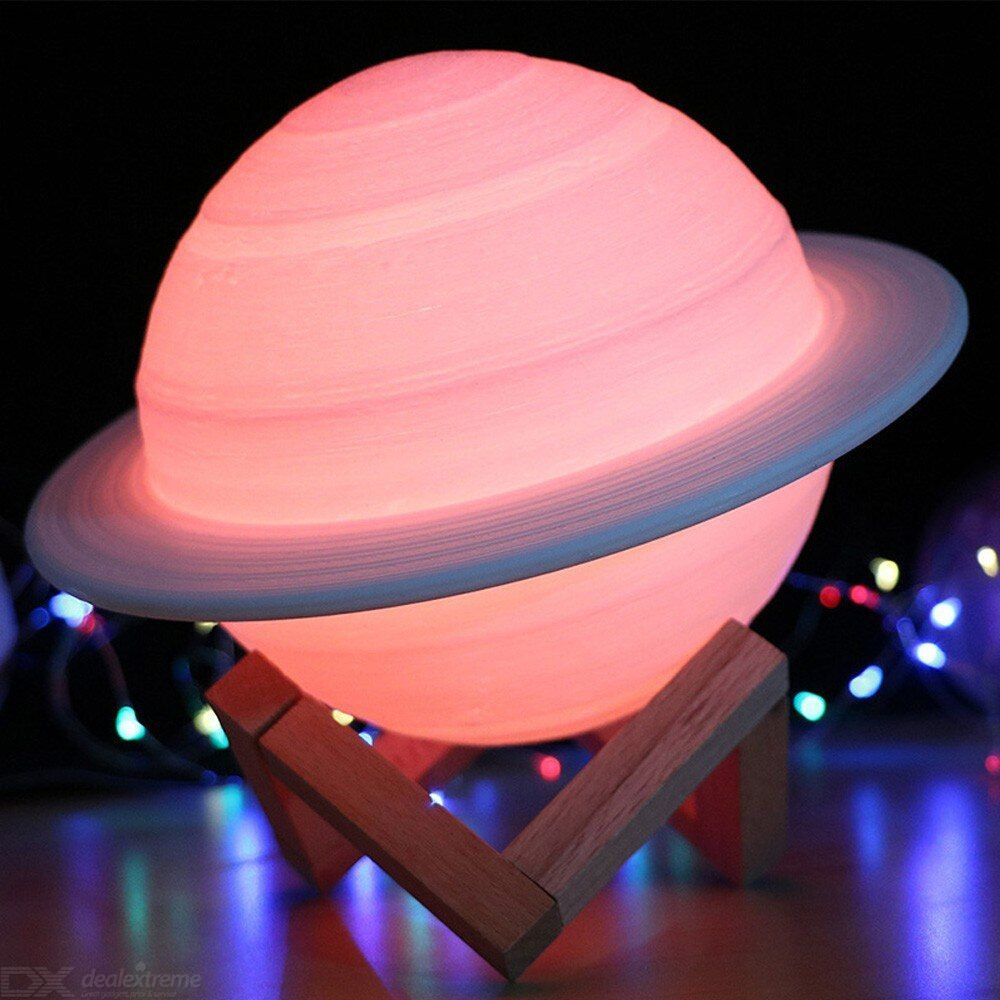 New rechargeable 3d print saturn lamp like moon lamp night light for moon light with  16 colors remote
