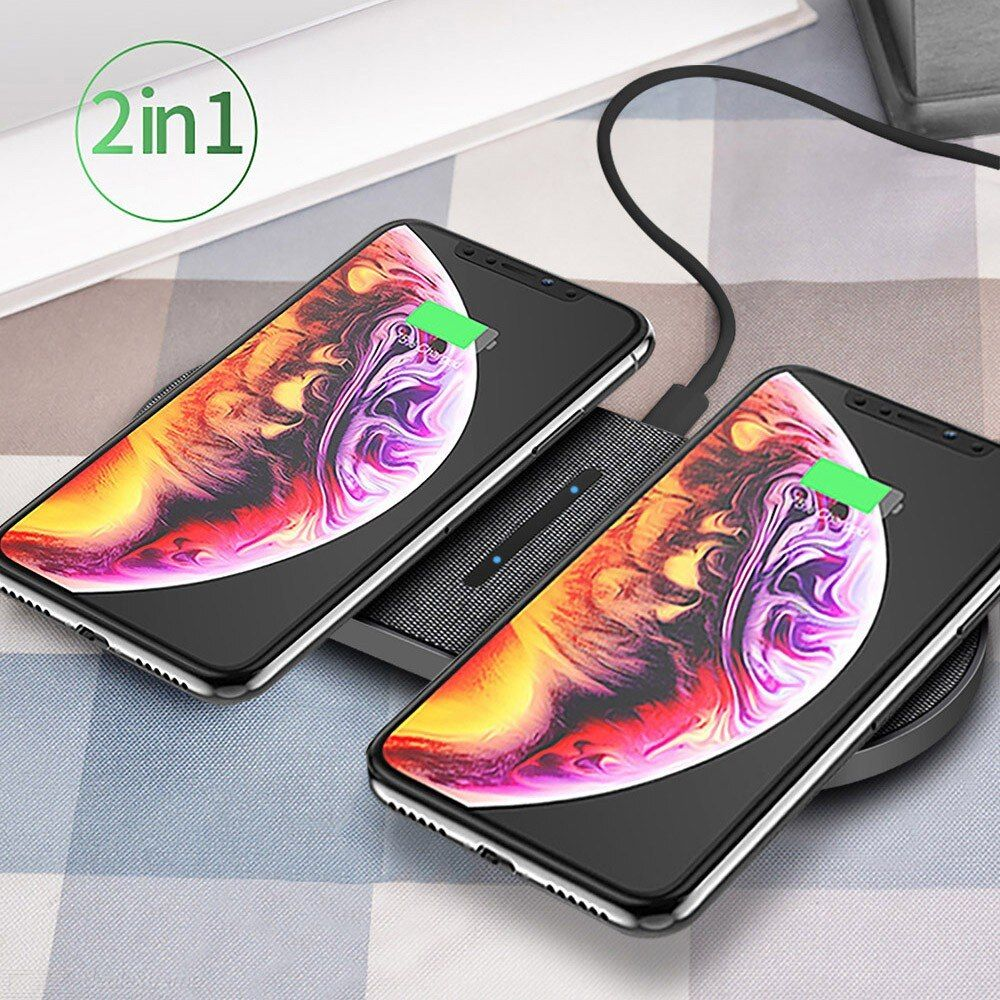 2 in 1 10w dual seat qi wireless charger for samsung s20 s10 double fast charging pad for iphone 12 11 xs max xr x 8 airpods pro