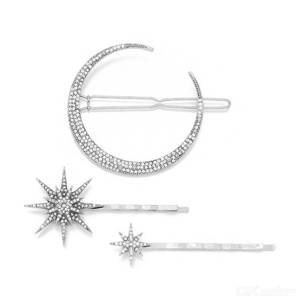 3pcs star moon rhinestone hair clip hairpin women girls jewelry fashion styling accessories