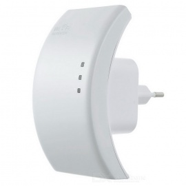 Portable 2.4GHz 802.11b/g/n 300Mbps Wireless WiFi Repeater - White