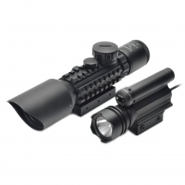 Waterproof 3~10X Zoom Rifle Scope with Flashlight - Black