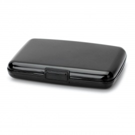 Multifunction ABS Water Resistant Business Credit Card Holder Case w/ 7 Slots - Black (S-Size)