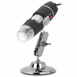 S02 25~500X USB Digital Photography Microscope Magnifier w/ 8-LED White Light - Black
