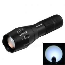 Stretch Zooming Cree XML-T6 900lm 5-Mode White Tactical Flashlight - Black (1 x 18650 or 3 x AAA)