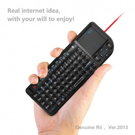 Rii RT-MWK01 Handheld Rechargeable 2.4G Mini Wireless Keyboard with TrackPad and Red Laser