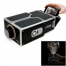 DIY Micro Cardboard Smartphone Mobile Phone 8x Amplification Projector - Black