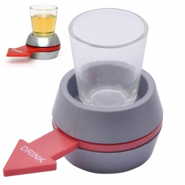 Plastic Drinking Game Spinning Wheel + Glass Set - Red + Grey