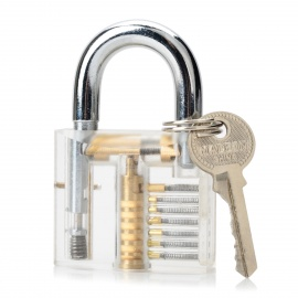ZH-0121 Inside-View Pick Skill Training Practice Padlock Lock for Locksmith - Silver + Transparent