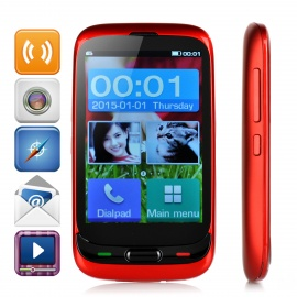 "Daxian P9 GSM Phone w/ 3.5"" Capacitive Screen, Camera, Dual SIM, FM, MP3, Torch for Elderly - Red"