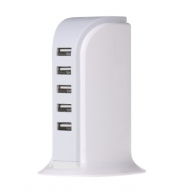 5-USB 30W Charger with Cooling Function - White (EU Plug / 5V , 6A)