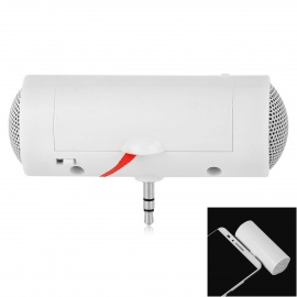 Portable Mini 3.5mm Plug Speaker for Mobile Phones / Tablets + More - White (2 x AAA)