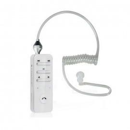 Bluetooth V4.0 Smart Headset w/ Anti-radiation Vacuum Spiral Cable Single In-Ear Earphone - White