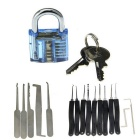 Mini Inside-View Pick Skill Training Practice Padlock + Lock Picks Tools Set - Transparent Blue