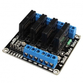 Solid State High Level 4 Channel 5V DC Relay Module - Black + Blue