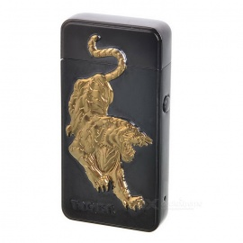 3D Tiger Pattern USB Li-ion Battery Rechargeable Lighter - Black