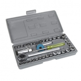 40 Pieces Socket Sleeve Wrench Combination Set - Silver