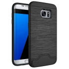 Protection Back Case w/ Card Slots for Samsung Galaxy S7 Edge - Black