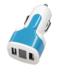 Dual USB 12-24V 3.1A Car Charger w/ Voltage Display - Sky Blue + White